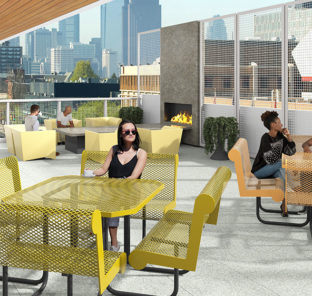 Outdoor Lounge at Luxury Student Apartments For Rent Near Temple University