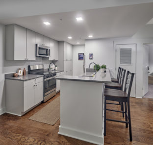 Interior of a three bedroom student apartment kitchen