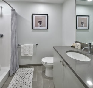 Interior of a student apartment bathroom in our studio apartment